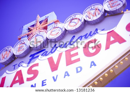 close view of vintage las vegas welcome sign - stock photo