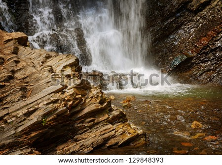 close view of waterfall cascades