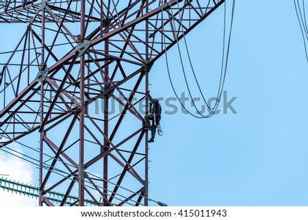 Close view on the element of the modern high powerlines