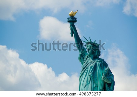 Close view on the Statue of liberty, New York, USA