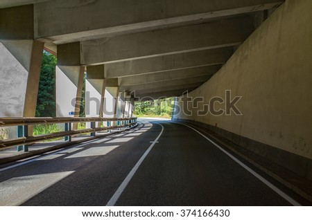 Close view on the tunnel in mountains Austria