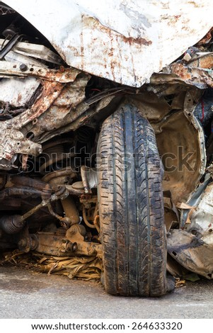 Close-wheel drive Bourne gold demolished by a serious accident collided. - stock photo