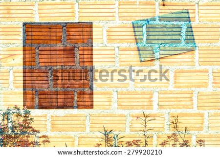 close wooden window and tag on orange brick wall background - stock photo