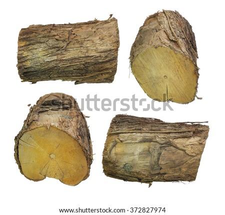 closecut wood log, lumb, lumber log, same log/lumber different view, four horizontal, isolated, timber cut,  - stock photo