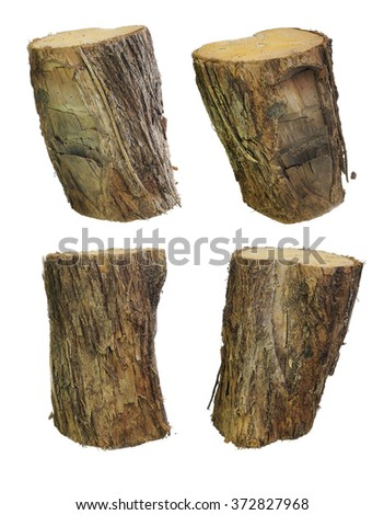closecut wood lumb, four standing, four logs standing isolated on white background, the side of the wood is chopped with an old ax, 4 woodcut, rudely cut timber, four standing stumps for easy cut out! - stock photo