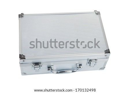 Closed Aluminum Make Up case, isolated on white background