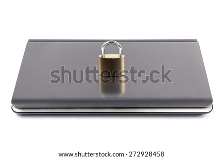 Closed and locked computer by padlock isolated on white background. The image is shooted in studio. - stock photo