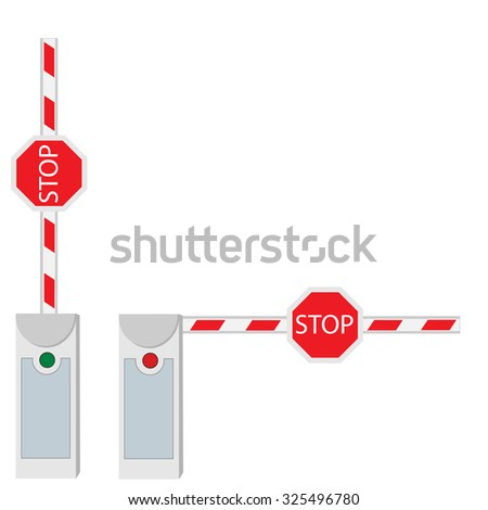 Closed and opened barrier isolated on white raster