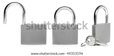 closed and opened lock isolated on white