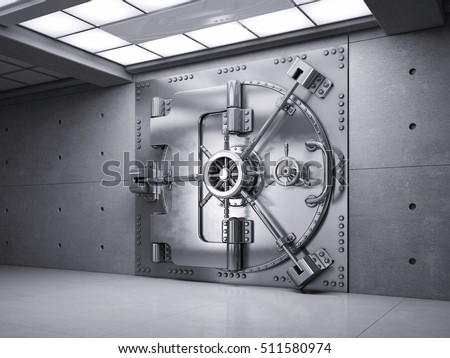 Closed Bank Vault Door. 3d render.