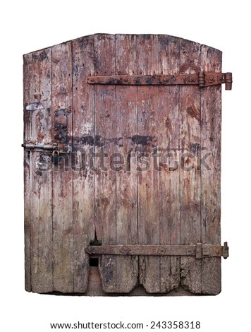 Closed big old door with rusty key isolated on white background with clipping path - stock photo