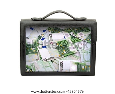 Closed black briefcase isolated on white background - stock photo