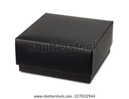 Closed black gift box isolated on white - stock photo
