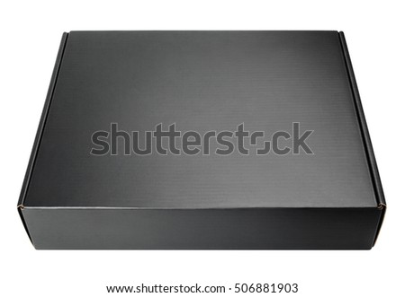Closed blank black carton box isolated on white with clipping path