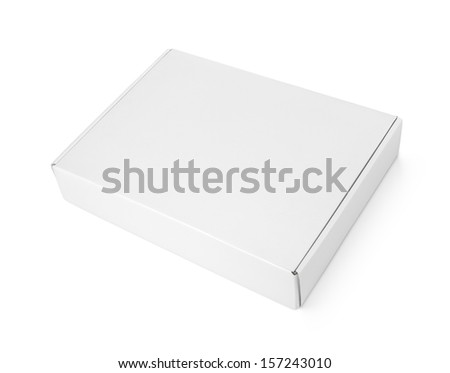 Closed blank carton pizza box isolated on white with clipping path