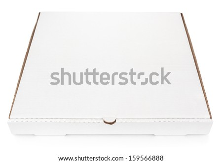 Closed blank carton pizza box isolated on white with clipping path - stock photo
