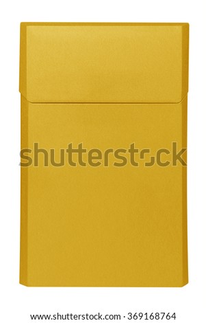 Closed blank yellow cigarettes pack box isolated on white. Clipping path included. Ready for your design. - stock photo