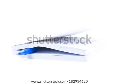 Closed Book And Blue pen Over White background - stock photo