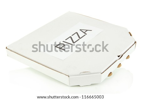 closed box with pizza isolated on white