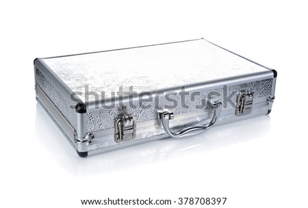 closed briefcase on white background