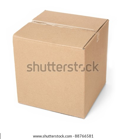 Closed Cardboard box.  Front View. With shadows and isolated on white.
