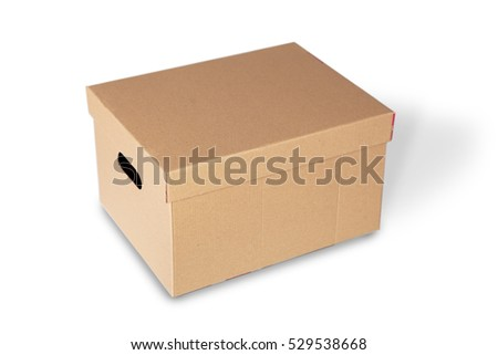 Closed cardboard box isolated on a white background.