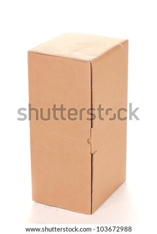 closed cardboard box isolated on white - stock photo