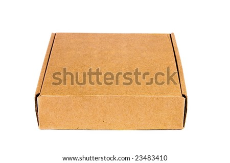 Closed cardboard box isolated on white background.
