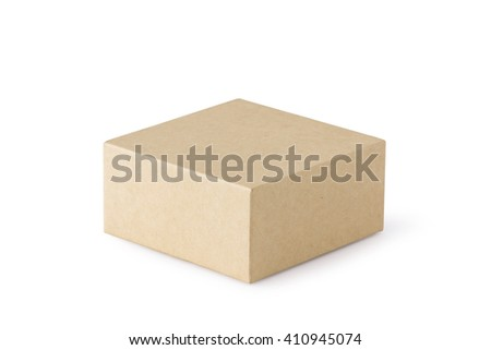 Closed cardboard box, isolated on white background, clipping path - stock photo