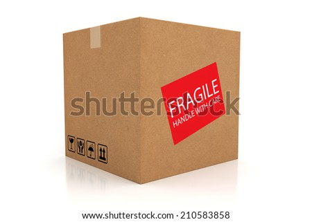 Closed cardboard box isolated on white background with reflection.