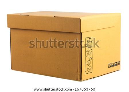 Closed cardboard box on white background  - stock photo