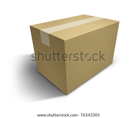 Closed cardboard box representing the concept of packaging for a move and delivering goods. - stock photo