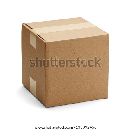 Closed cardboard box taped up and isolated on a white background. - stock photo