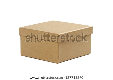 closed cardboard box with lid on white background - stock photo