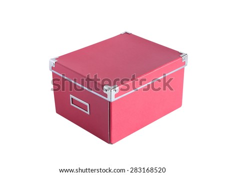 Closed cardboard red box isolated on white background with clipping path