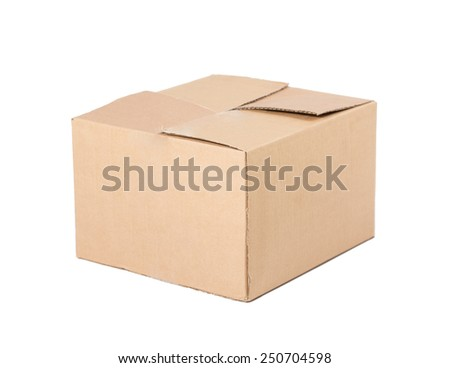Closed, carton, brown shipping box. Isolated on white background. - stock photo