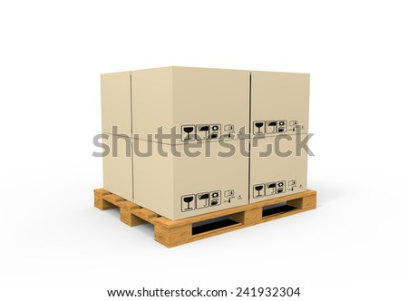Closed carton delivery packaging box with fragile signs on wooden pallet - stock photo