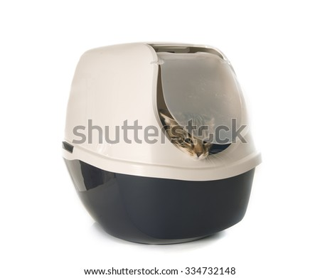 Closed cat litter box in front of white background - stock photo