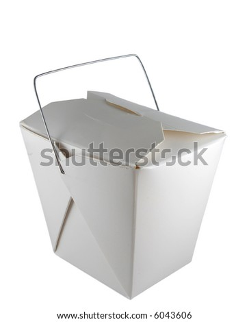 Closed Chinese food take-out box isolated on white.