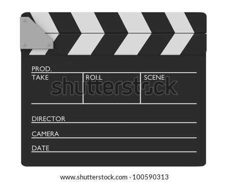 Closed cinema slate. Customizable and Isolated over white