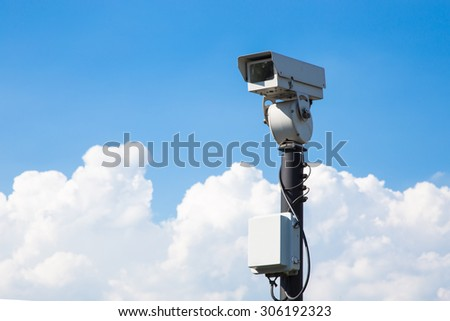 closed circuit camera outdoor on blue sky