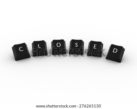 CLOSED Computer Keys on white background
