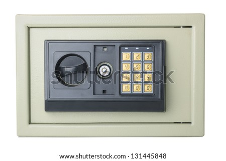 Closed digital safe isolated on white background