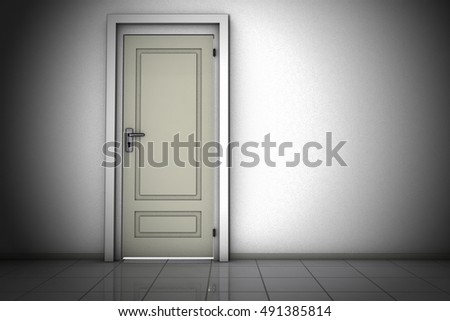 Closed door (3d rendering)