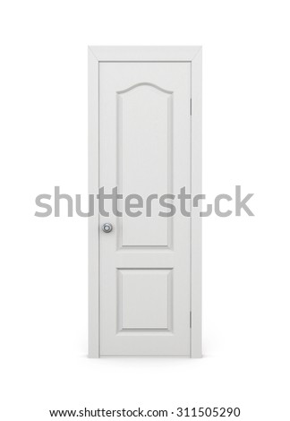 Closed door isolated on white background. 3d rendering.