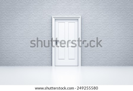closed door with white brick wall concept - stock photo