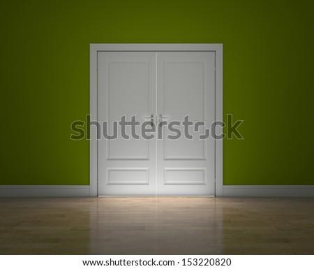 Closed doors - stock photo
