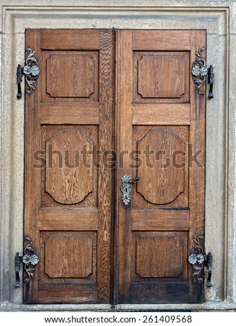 closed doors at the Castle Czech Krumlov - stock photo