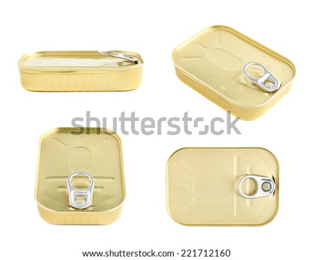 Closed easy open sardine can with the pull tab isolated over the white background, set of four foreshortenings - stock photo