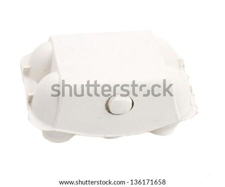 closed egg box isolated on white background - stock photo